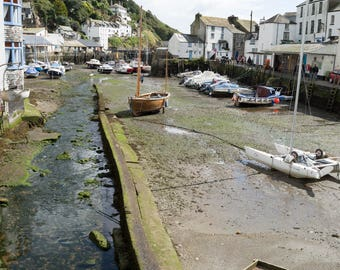 Cornwall Polperro Village Harbour A3 jpeg digital download of photographic image