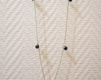 Silver chain with blue beads necklace