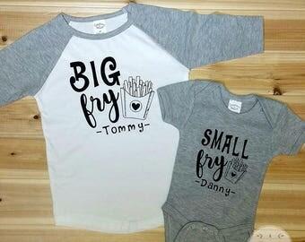 Cute Shirts Big Fry Small Fry Personalized Shirt Set, Funny Shirt Set, Toddler Shirt Set, Kids Shirt Set, Cute Shirt Set, Sibling Shirt Set