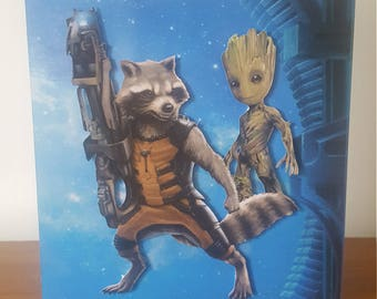 Guardians of the galaxy Rocket & Baby Groot card