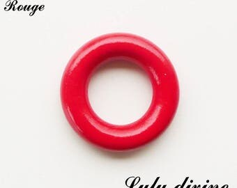 Wooden ring (XS) 36 mm without hole, rattle baby: Red