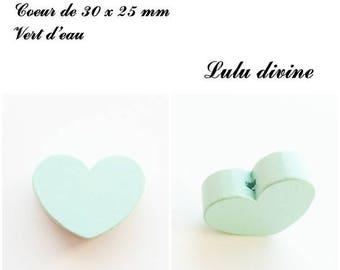 30 x 25 mm wooden bead, Pearl flat heart: sea green