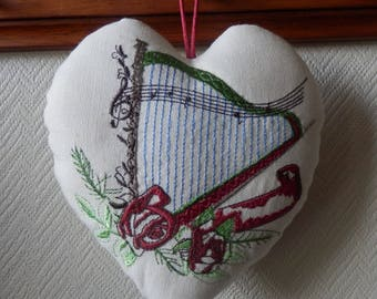 harp embroidered on a heart for music lovers