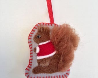 Needle felted squirrel hanging Christmas decoration