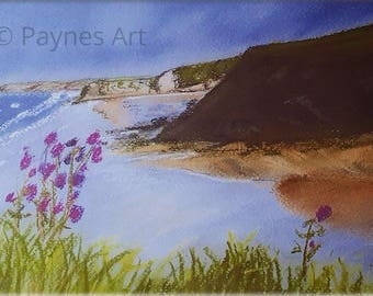 Broadhaven South Pembrokeshire Giclee Pastel Print Beach Landscape Sea Summer Welsh Wall Art Painting seascape Painting Christmas Gift