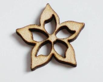 4 buttons flower Columbine openwork Maple 1/2 cm - Columbine embellishment wooden decorative button