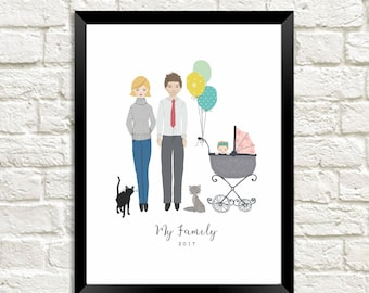 Personalised Custom Illustrated Print Family Portrait Art Design
