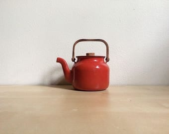 Mid-Century Red-Orange Enamel Teapot