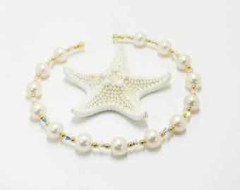 14k White Freshwater Pearl and Swarovski Crystal Memory Wire Bracelet