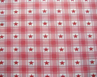 Cut of fabric 100% cotton printed star red and white 55 x 44 cm