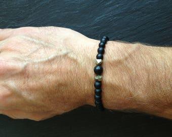 mens black onyx and pyrite bracelet