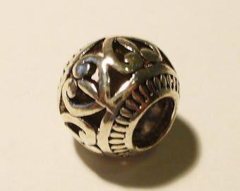 1 bead antique silver big hole MR295 11x9mm