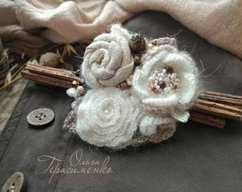 Textile brooch in the style of a boho, textile jewelry, knitted brooch, Free shipping, Gift Ideas for women