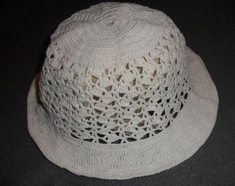 Hat girl ecru hand crochet handmade