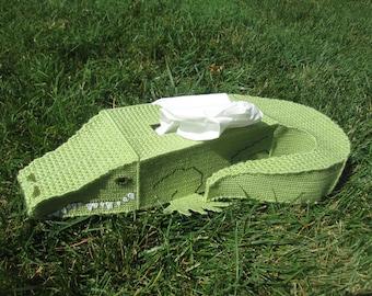 Alligator Needlepoint Tissue Box Cover