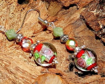Earrings Bohemian red, green and silver