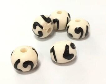 ❤ X 6 bone beads natural 11x9mm ❤
