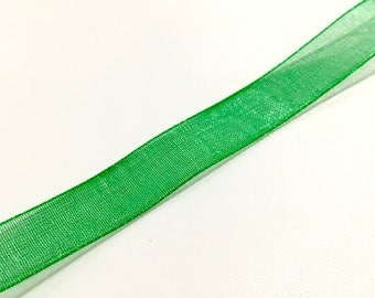 1 meter Ribbon 10 mm Green organza ❤ ❤