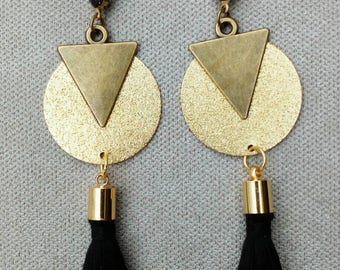 Earrings black tassels, triangle, sequin gold sequin granite