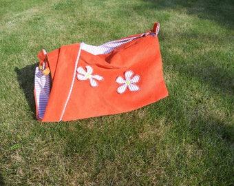 Very soft orange velvet shoulder bag