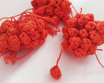 Buttons Orange Moroccan Aakads braided in vegetable silk thread