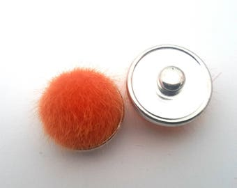Orange snap fur pompom
