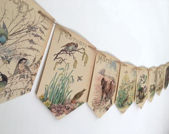 Floral Banner. Calendar Garland. Four seasons rustic paper bunting with plants, flowers, birds, butterflies and animals. Eco Friendly decor