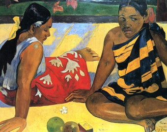 SET of TABLE ORIGINAL semi-rigid AESTHETIC WASHABLE and durable - Paul Gauguin - Tahitian Women on the Beach CA.
