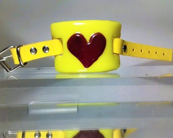 Yellow Glass Bracelet with Red Glass Heart