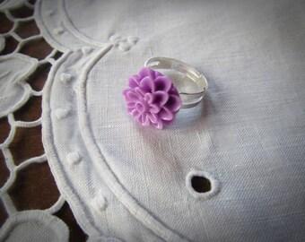 Resin - purple adjustable flower ring