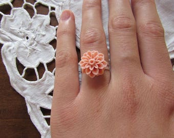Resin - PALE pink adjustable flower ring
