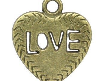 2 charms hearts color Bronze 21 x 18.5 ref 1