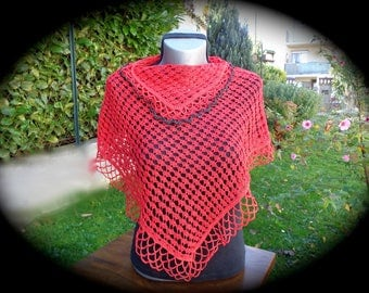 SHORT PONCHO in red cotton for summer