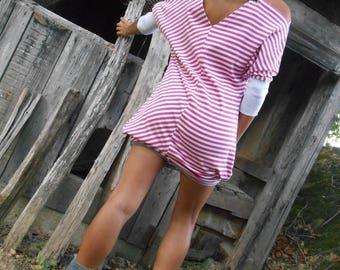 BatDress: pink and white striped dress