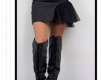 """SteamGirl"" skirt: asymmetrical black steampunk skirt"