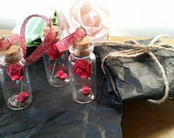 Mini enchanted rose bottle. Keepsake. Valentines. Anniversary. Fallen petals. Red rose. Mini glass bottle with Cork
