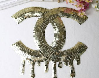 Large sequin patch Sparkling iron on cc sequin patch