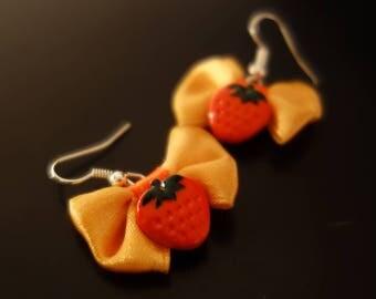Earrings Strawberry Fraisichou charm orange ribbon bow
