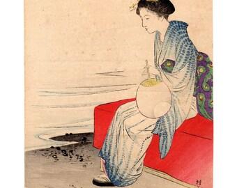 Coolness on the shore (Takeuchi Keishu) N.1 kuchi-e woodblock print