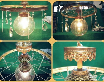 Chandelier Shabby Chic/Vintage bike-Ray Steam Punk/