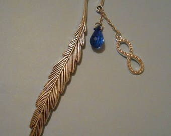 Feather bookmark with blue charm