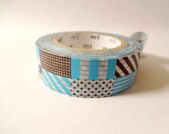 Washi tape blue patchwork - masking tape - Scrapbook - embellishment
