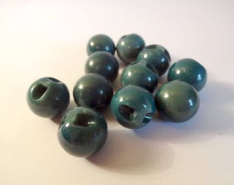 11 blue balls - beads - spheres - sewing buttons