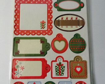 Labels tags Gifts Christmas theme (x 15) Artemio - - cardmaking - scrapbooking embellishments