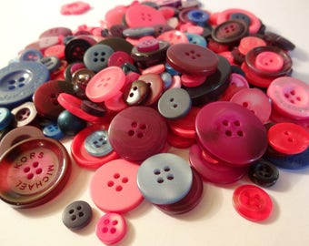 Wholesale lot x 200 purple Blue Roses - Scrapbooking - Sewing buttons