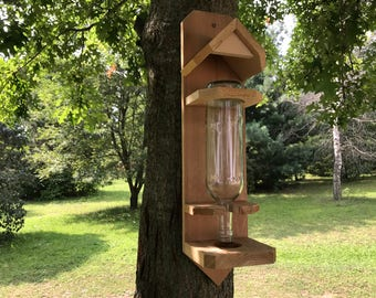 Wine bottle bird feeder Rough Sawn Cedar Handmade
