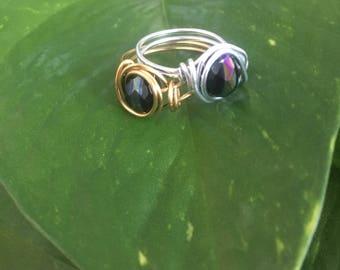 Black Glass Beaded Ring