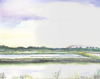 Original watercolor painting. Riviera. Provence. Hyères salins on paper 24 x 32