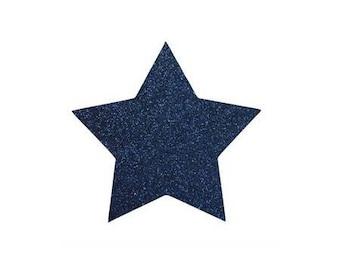 5 X 4.8 cm Navy Blue glittery star fusible pattern
