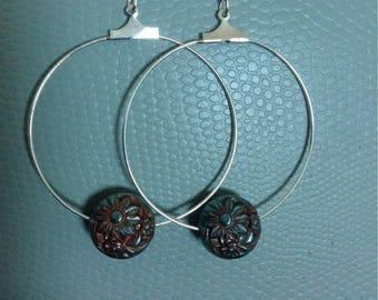 Metal Flower Hoop Earrings